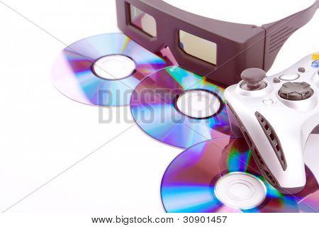 Gambling equipment: CDs, 3D glasses and joystick