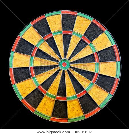 Empty circle dartboard isolated on black background