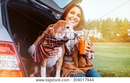 Woman With Dog Sit Together In Cat Truck And Warms цшер Hot Tea. Auto Travel With Pets Concept Image