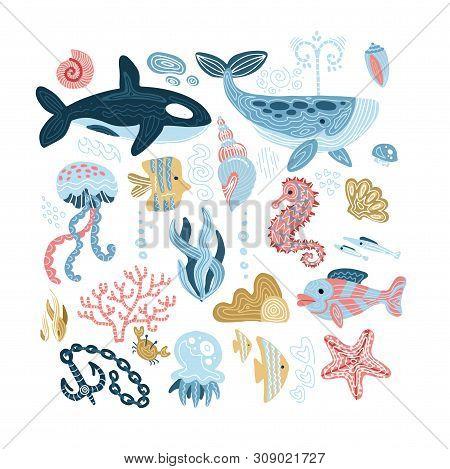 Set Of Sea Animals - Seashells, Fish, Whale, Seahorse, Tuna, Butterfly Fish, Killer Whale, Jellyfish
