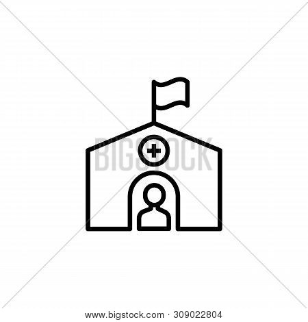 Hospital Migration Outline Icon. Element Of Migration Illustration Icon. Signs, Symbols Can Be Used