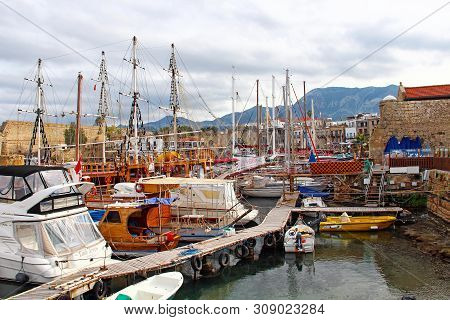 Kyrenia, Cyprus - January 19, 2015: Boats In The Harbour Of Kyrenia (girne)