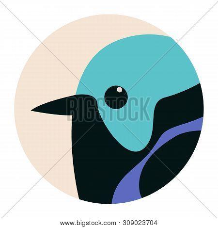 Head Variegated Fairy Wren Bird,vector Illustration,flat Style