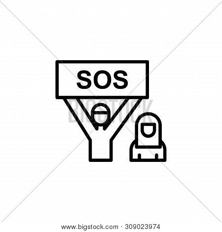 Refugee Sos Migration Outline Icon. Element Of Migration Illustration Icon. Signs, Symbols Can Be Us
