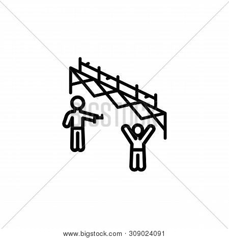 Gun Fence Migration Outline Icon. Element Of Migration Illustration Icon. Signs, Symbols Can Be Used