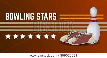 Isolated Bowling Poster With Shoes And Bowling Pin - Vector