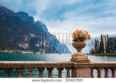 Tip Of The Lake Garda, View Fron The Riva Del Garda Town In The Trentino Alto Adige Region In Italy.