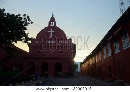 Melaka, Malaysia - 25 Jun, 2019: Iconic Christ Church In Melaka, Malaysia. Melaka Has A Historical S
