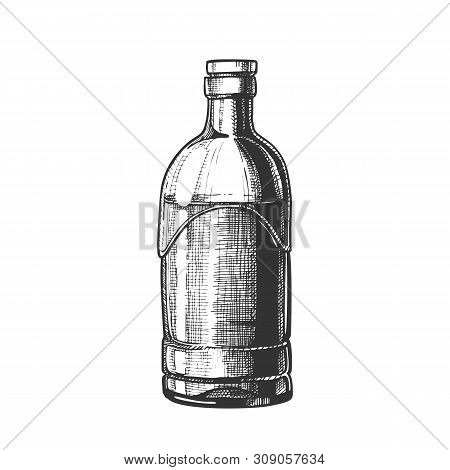 Closed Standard Drink Tequila Glass Bottle Vector. Sketch Empty Clear Blank Modern Style Package For