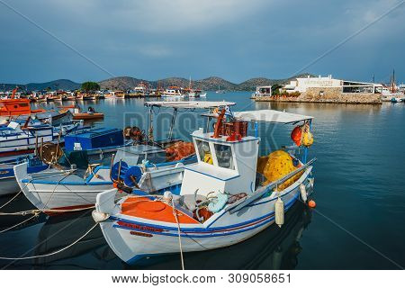 Crete, Elounda, June 07, 2017: Ships And Fishing Boats In The Harbor Of Elounda, Crete, Greece