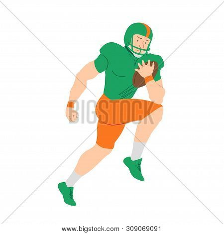 American Football Player. Quarterback Making Scramble. Vector Flat Illustration. Avatar, The People