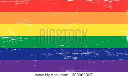 Grunge Glbt Pride Rainbow Flag - Symbol Of Gay, Lesbian, Bisequal, Transgender And Queer People.