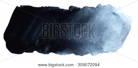 Abstract Headline Background. A Shapeless Oblong Spot Of Blue Black Color. Gradient From Dark To Lig