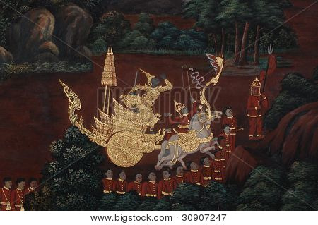 Mural about Ramayana Literature in Thailand