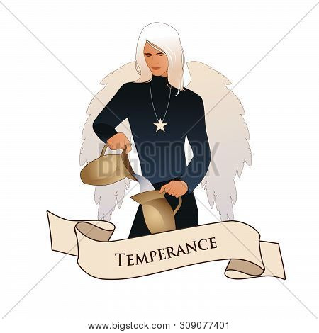Major Arcana Emblem Tarot Card. Temperance. Angel With Appearance And Clothes Of Young Man, Great Wi