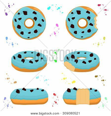 Illustration On Theme Big Set Different Types Sticky Donuts, Sweet Doughnuts Various Size. Donut Pat