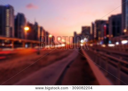 Vintage Abstract With Sunset City Bokeh. Summer Party Background. Urban Cityscape Blur Background. M