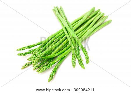 Asparagus. Fresh Light Green Asparagus Isolated On White Background.