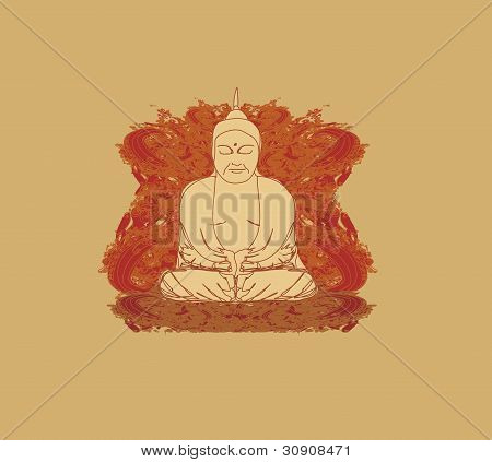 Vector of Chinese Traditional Artistic Buddhism Pattern poster
