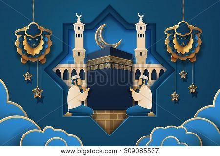 Eid Al-adha Calligraphy And Salah Prayer Near Kaaba Holy Stone And Masjid Al-haram. Man Praying Near