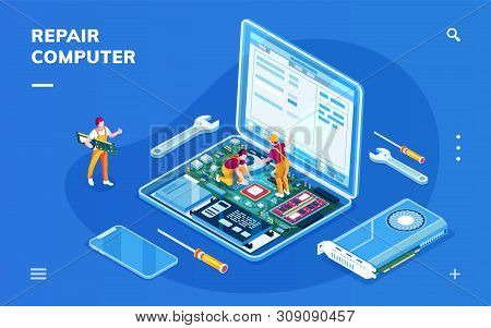 Isometric Screen With Computer Repair Service For Smartphone Application. Isometry Laptop With Servi