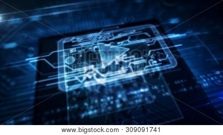 Futuristic Concept Of Digital Media, Mobile Player, Broadcasting And Video Streaming. Digital Backgr
