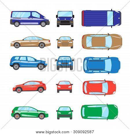 Different Transportation Car. Sedan Car, Hatchback, Universal Car, Suv, Van, Mini Car Set. Vehicle C