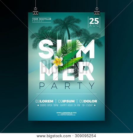 Vector Summer Party Flyer Design With Flower And Tropical Palm Trees On Blue Background. Summer Holi