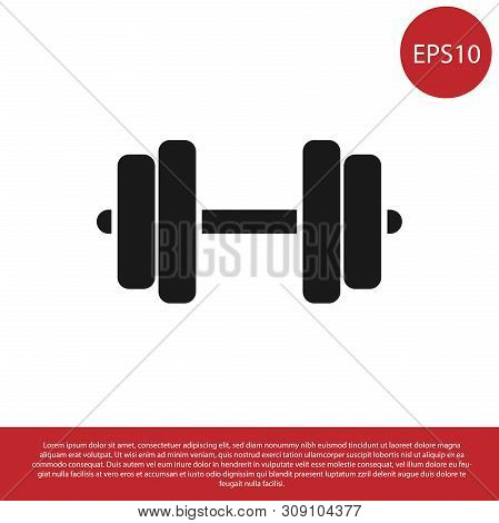 Black Dumbbell Icon Isolated On White Background. Muscle Lifting Icon, Fitness Barbell, Gym Icon, Sp