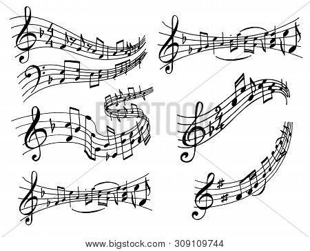 Notes Music Melody Colorfull Musician Symbols Sound Melody Text Writting Audio Symphony Vector Illus
