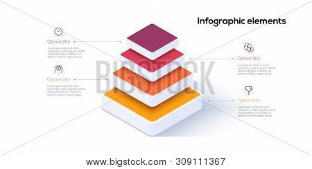 Business Pyramid Chart Infographics With 4 Steps. Pyramidal Stages Graph Elements. Company Hiararchy