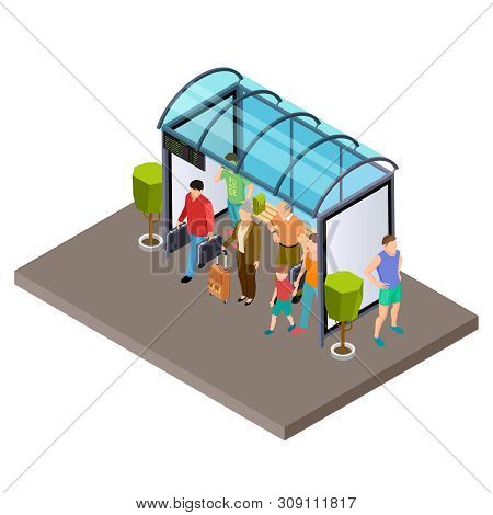People Are Waiting For The Bus At The Bus Stop Isometric Vector Illustration. Bus Isometric Stop Wit