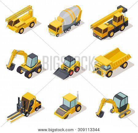 Isometric Industrial Machinery. 3d Construction Equipment Truck Vehicle Power Tools Heavy Machine Ex