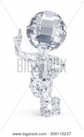3d Diamond Man Pointing Finger Up. 3d Image. White Background.