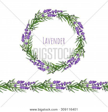 The Lavender Elegant Card With Frame Of Flowers And Text.