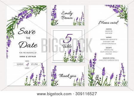 Wedding Floral Invitation Set Withlavender. Menu Card, Save The Date And Table Cards, Modern Layout.