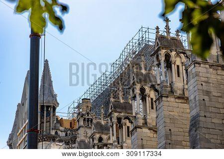 Paris, France - June 27, 2019: Cath Drale Notre-dame De Paris Construction And Refurbishment Rebuild