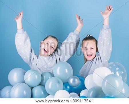 Happy And Carefree. Little Girls Celebrating Birthday. Small Children Having Birthday Party. Happy K