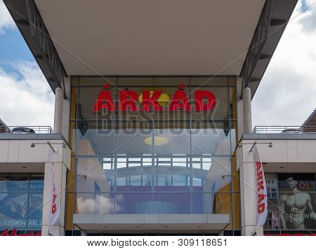 Gyor Hungary 05 07 2019 Entrance To The Arkad Shopping Center In Gyor