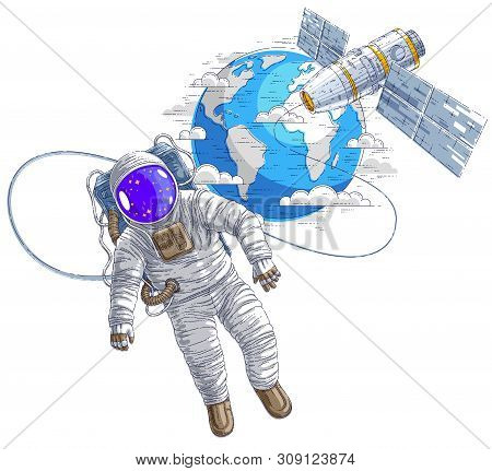 Spaceman Flying In Open Space Connected To Space Station And Earth Planet In Background, Astronaut M