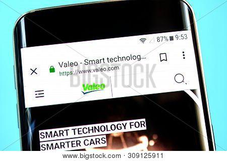 Berdyansk, Ukraine - 1 June 2019: Valeo Website Homepage. Valeo Logo Visible On The Phone Screen.