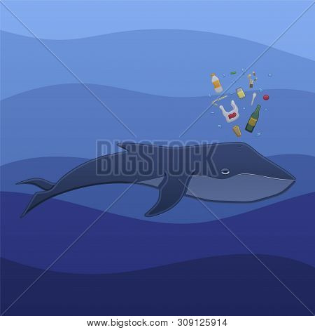 The Whale Swims Under The Blue Ocean Water And Spouts Trash In Profile In Vector. The Trash Consists