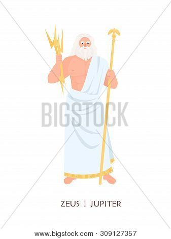 Zeus Or Jupiter - Main Olympian Deity, God Of Sky, Lightning, Thunder From Ancient Greek And Roman R
