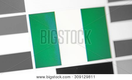 Nigeria National Flag Of Country. Nigeria Flag On The Display, A Digital Moire Effect. News Of Geogr