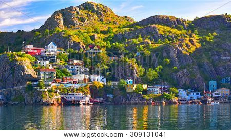 An Hdr Panoramic Image Of The Battery Community In St John`s Harbour, Newfoundland, Canada.