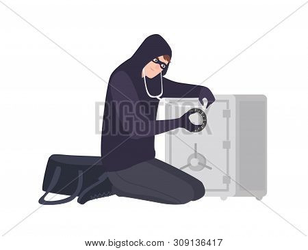 Male Burglar Wearing Mask And Hoodie Using Stethoscope To Open Safe Or Strongbox. Theft, Burglary Or