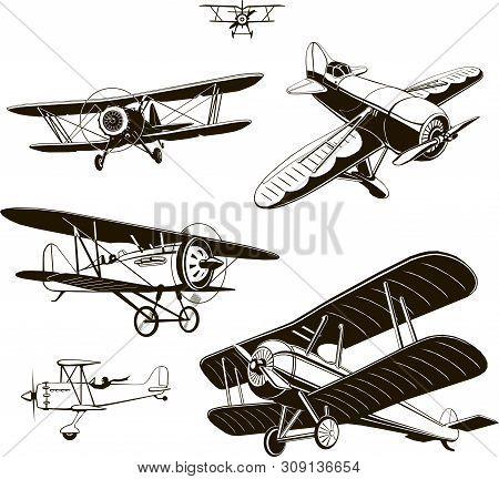 Vintage Biplanes Set Vector Black Old, Logo, Emblem, Label