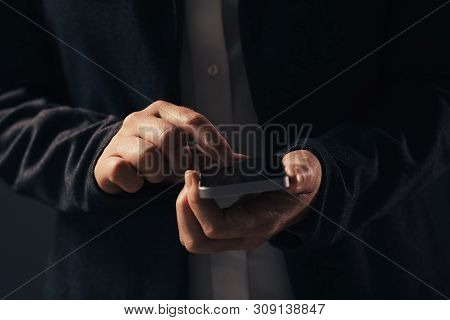 Close Up Of Hands Using Smart Phone. Businesswoman In Elegant Suit Touchung Mobile Phone Touchscreen