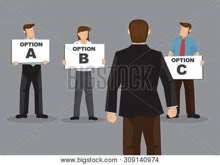 Vector Cartoon Illustration Of A Businessman Asking For Recomendation For His Questions And Get A Lo