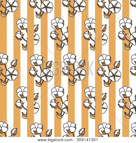 Seamless Pattern With Cotton Bolls Against Lined Background